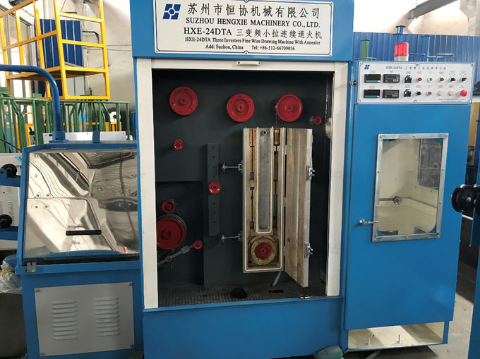 Blue Customized Wire Drawing Machine 0.8mm-1.6mm Flat Belts Transmission